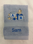 AB BLOCKS BLUE PERSONALISED FACE CLOTH